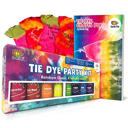 Doodlehog Easy Tie Dye Party Kit for Kids, Adults, and Groups. Create Vibrant