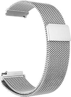 سوار ساعة سامسونج جير اس 3، لساعة جالكسي (46 ملم)، مصنوع من الستانلس ستيل بحلقة ميلانو مع مشبك مغناطيسي قابل للتعديل لساعة...