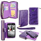 LG L70 Case - Cellularvilla Pu Leather Flip Wallet Bag Pouch Case with Credit Card Slots Pockets & Detachable Back Cover For LG Optimus L70 (MetroPCS) MS323 / Exceed II VS450 / Dual D325 (Purple 1)