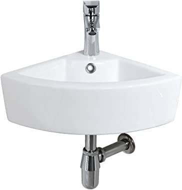 Bokaiya Small Corner Wall Mount Bathroom Sink Combo with Overflow Triangle White Porcelain Ceramic Above Counter Mini Vanity