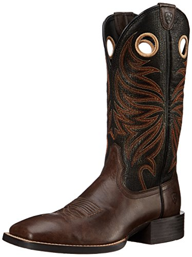 Ariat Men's Sport Rider Wide Square Toe Western Cowboy Boot, Chocolate/Black, 9 D US