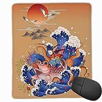 マウスパッド ゲーミング オフィス最適 浮世絵 うきよえ 猫 神奈川沖浪裏 高級感 おしゃれ 防水 耐久性が良い 滑り止めゴム底 ゲーミングなど適用 マウスの精密度を上がる( 25*30*0.3cm )