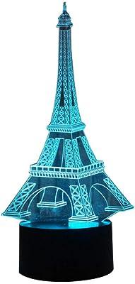 Aliciashouse Mini Torre Eiffel Noche Mesa de LED luz l/ámpara Escritorio Dormitorio decoraci/ón monomando-20 cm