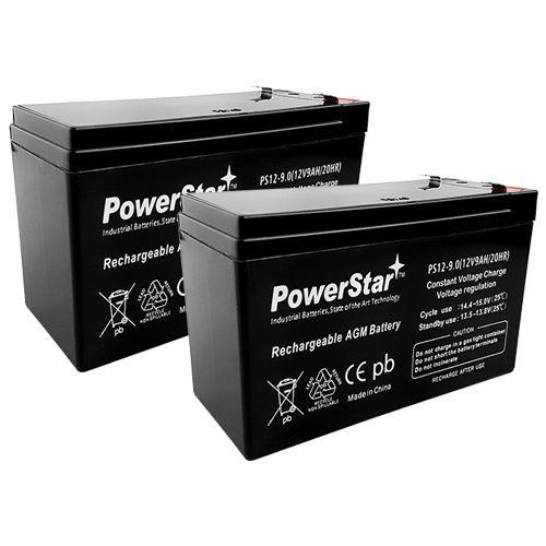 PowerStar-2Pack-2 Year Warranty 12V 9AH SLA Battery for Razor e200 / e200s / e225 / e300 / e300s / e325