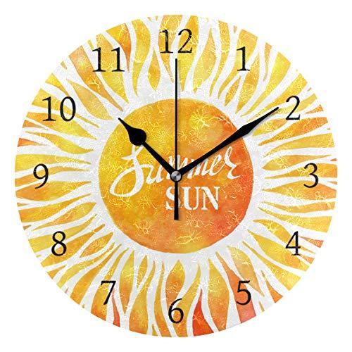 Ahomy Runde Wanduhr mit Wasserfarbe, Sonnen-Dekoration, kein Ticken, Ziffern, für Zuhause, Büro, 1 AA-Batterie (Nicht im Lieferumfang enthalten)