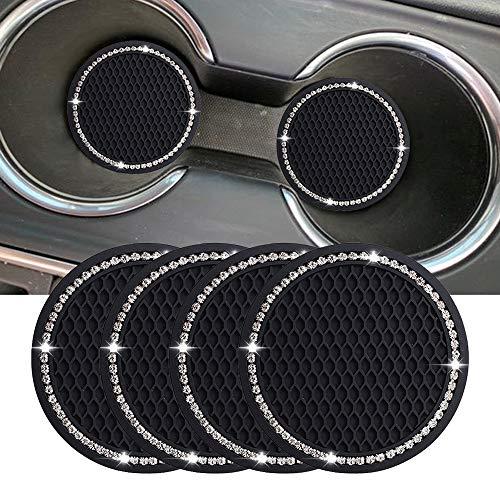 Lipctine Juego de 4 soportes redondos para vasos interiores de coche de 2.75 pulgadas, soporte para vasos de coche, accesorios para bebidas, apto para vehículos, SUV, camión, coche.