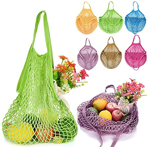 Dantazz Einkaufsnetz Netz Einkaufstasche, Mesh Tasche Einkaufsnetz Netztasche Wiederverwendbare Multifunktionale Aufbewahrungstasche für Obst Gemüse (Lila)