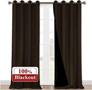 NICETOWN Extra Long Truly Blackout Drapes for Hall and Villa, 100% Blackout Window Curtain Panels with Black Lined for Night Shift Worker, 52-inch Width Each Panel, 108-inch Length, Brown, 2 Pieces