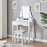 Fineboard Makeup Vanity Set Dressing Table with Stool LED Lights Mirror with 5 Drawers, White
