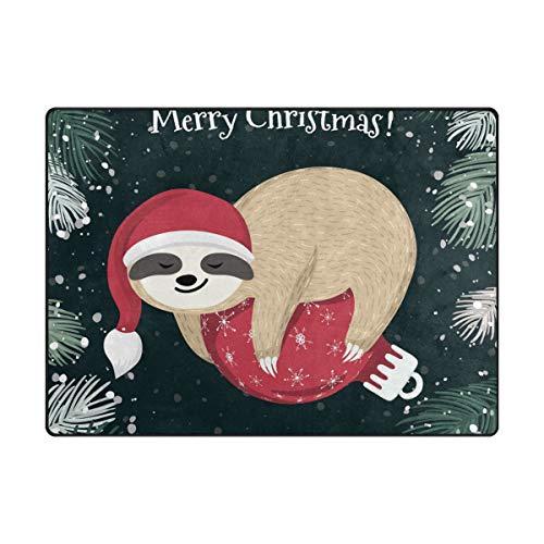 DEZIRO Tapis de Sol antidérapant Motif Paresseux de Noël pour extérieur, Polyester, 1, 80 x 58 inch