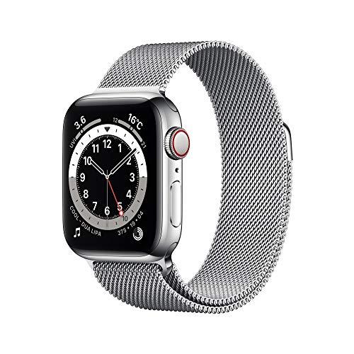 最新 Apple Watch Series 6(GPS + Cellularモデル)- 40mmシルバーステンレススチールケースとシルバーミラネーゼループ