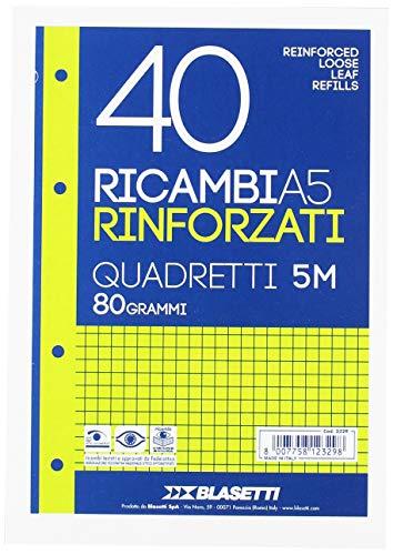Blasetti 2329 - 40 Ricambi A5 Rinforzati con banda trasparente, Quadretti, Bianco, 80 grammi