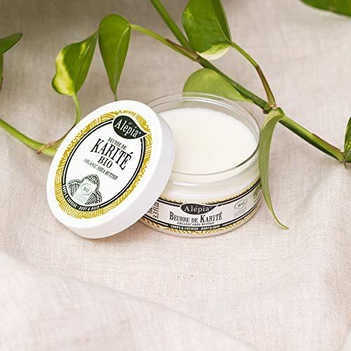 Alepia: Beurre de Karité Raffiné Bio 100ml, 100% Pure et Natural, Cosmos Bio Certifié; Apporte brillance & douceur aux cheveux, Répare & régénère la peau,
