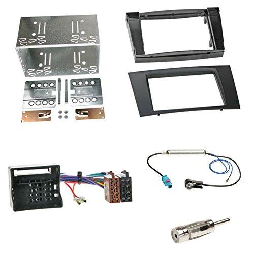 Einbauset : Autoradio Doppel-DIN 2-DIN Blende Einbaurahmen Radioblende schwarz + ISO Radio Adapter Kabel Adapterkabel + Antennenadapter für Mercedes E-Klasse (W211) Limousine 03/2002 - 2009
