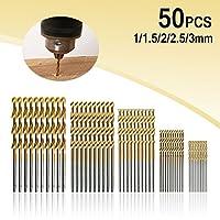zmart HSSドリル刃 50本 1 1.5 2 2.5 3mm各10本 チタンコート