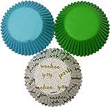 Wilton - Tazas para hornear (75 unidades), diseño de sorpresa con verde y azul