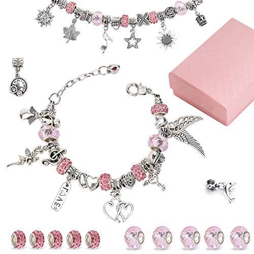 Linkbro DIY Charm Armband Kit, Geschenk Mädchen 8-12 Jahre, Armbänder Selber Machen Schmuck Bastelset für Kinder mit 3 versilberte Kette und Geschenkbox