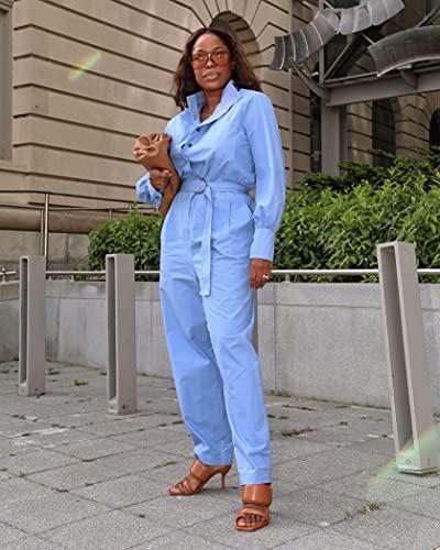 The Drop Women's Cornflower Blue Long Sleeve Belted Jumpsuit by @highlowluxxe