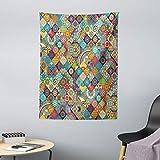 ABAKUHAUS Boemo Tappeto da Parete e Copriletto, Scacchi Folk, Lavabile e Senza Colori sbiaditi, 110 x 150 cm, Multicolore