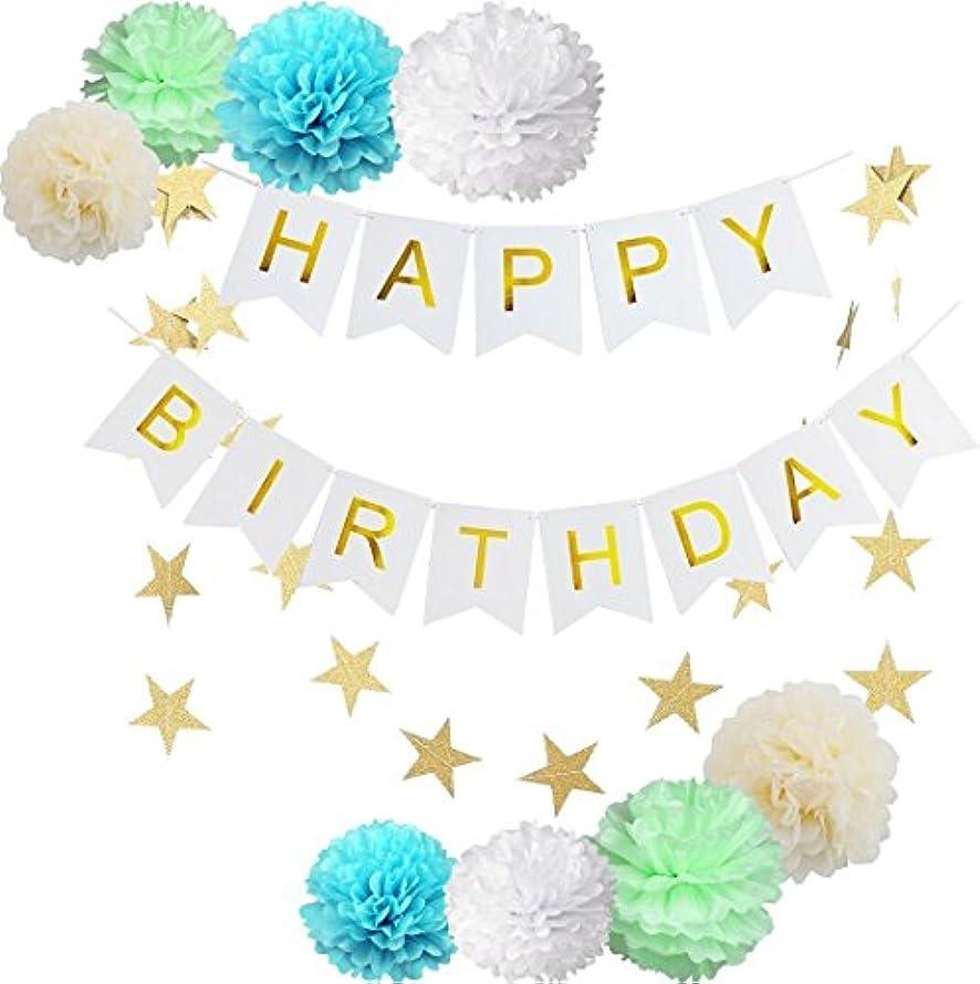 iEventStar Happy Birthday Decorations Banner with Tissue Pom Poms Flowers Star Garland (Blue Set)