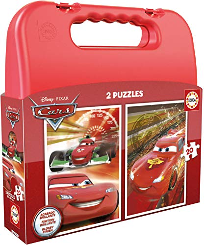 Educa - Cars Maleta Progresivos, 2 Puzzles Infantiles de 20 Piezas, a Partir de 3 años (16509)
