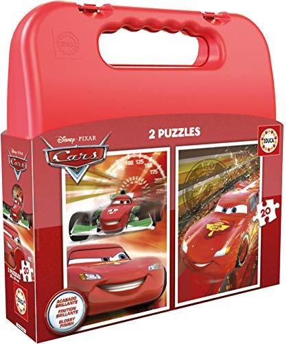 Educa- Cars Maleta Progresivos, 2 Puzzles Infantiles de 20 Piezas, a Partir de 3 años (16509)
