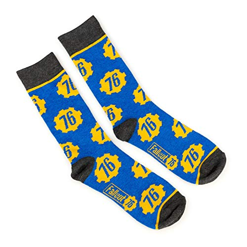 Fallout Collectibles | Blue & Yellow Crew Socks | BIOWORLD Fallout collection
