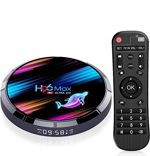 H96 Max Android TV Box 90 4GB RAM64GB ROM Boitier Android TV S905X3 Quad Core 64bit Cortex A55 Bluetooth 41 LAN 1000M Dual WiFi 24GHz5GHz USB 30 Supporte 4K 60Hz Full HD 3D H265 TV Box