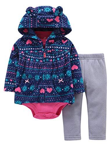 Odziezet Completini e Coordinati da Neonato 0-24 Mesi 3 Pezzi Giacca con Cappuccio a Manica Lunga + Pagliaccetti + Pantaloni