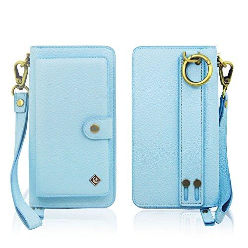 iPhone 7 Plus Wallet Case - JAZ Zipper Purse Detachable Magnetic14 Card Slots Money Pocket Clutch Leather Wallet Case for Apple iPhone 8 Plus/iPhone 7 Plus Sky Blue
