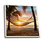 Juego de 4 posavasos de goma para bebidas, playa de Panamá, Florida, hamaca y puesta de sol, posavasos absorbentes, posavasos para protección de mesa, cocina, sala de bar, decoración