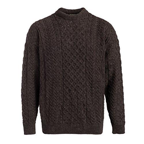 Boyne Valley Knitwear Mens Fisherman Aran Sweater (Brown, Small)