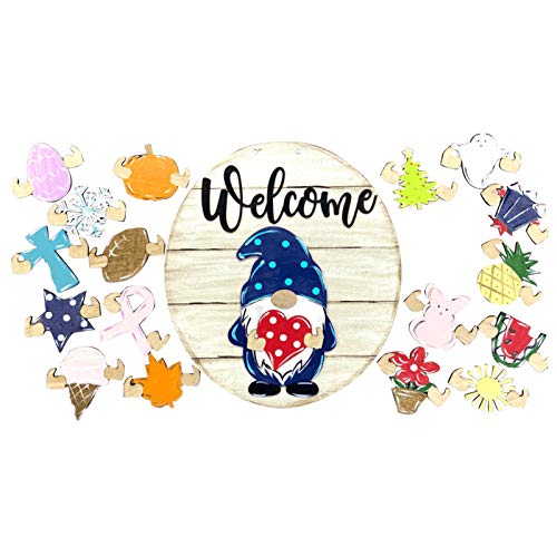 xfyx DIY Door Hanger,Gnome Door Hanger Seasonal Welcome Sign with Interchangeable Holiday Pieces for Front Door Porch Hanging Handmade for Housewarming Gifts,Christmas,Easter Front Door Wreath Decor