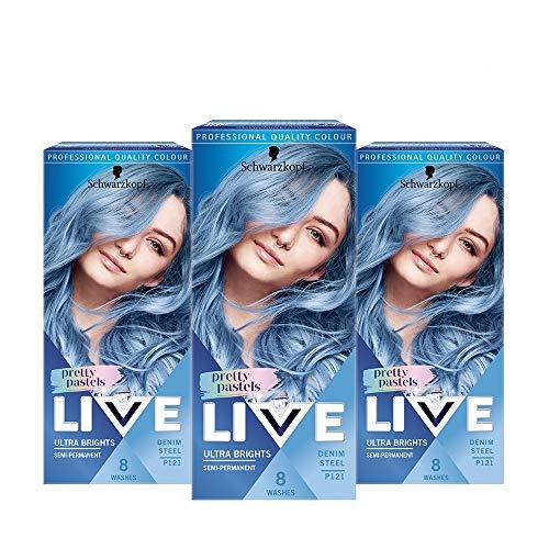 Schwarzkopf Live Ultra Brights Haarfarbe, 3er-Pack, semi-permanent, für 8 Waschgänge, P121 Denim-Stahl
