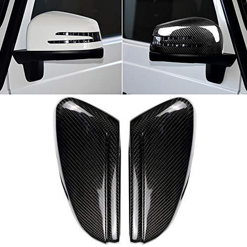 KEKEYANG Vinilo Coche Los depósitos de Coches de Punto Ciego del Coche del Espejo retrovisor de Fibra de Carbono Espejo Lateral Espejo de ala Tapa for Mercedes-Benz (2 PCS) Carbono Adhesiva
