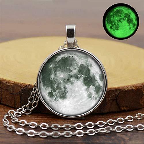 DYKJ Collar de Piedra Luminosa Colgante Luna Llena Lunar Galaxy Planeta Collar...