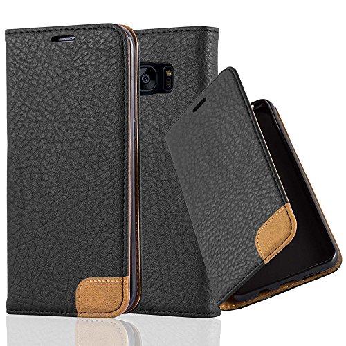 Preisvergleich Produktbild Cadorabo Hülle für Samsung Galaxy S7 Edge - Hülle in Signal SCHWARZ Handyhülle mit Standfunktion,  Kartenfach und Textil-Patch - Case Cover Schutzhülle Etui Tasche Book Klapp Style