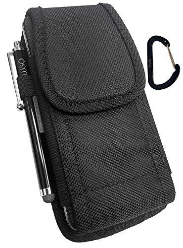 WSQ Motorola Moto Z2Force/Z2Play/Droid Turbo 2Tasche Holster Schutzhülle, Leinwand Nylon Tasche Hülle Metall Gürtel Clip Beutel (Passt für Slim Schutzhülle auf:)
