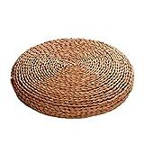 DUOCACL Cuscino per Sedia da Pavimento, Cuscino Rotondo in stuoia di Paglia Intrecciata in Tatami di Yoga Naturale, Decorazione per terrazza Ristorante Giardino