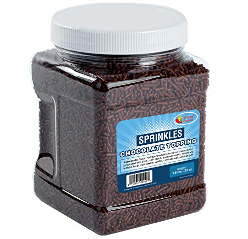 Chocolate Sprinkles Flavored Topping in Resealable Container, Cake Decorating, Cupcake, Baking - 1.6 LB Bulk Candy