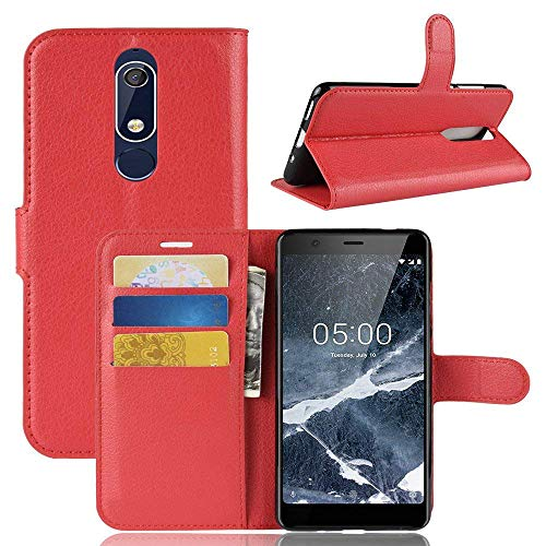 Lapinette Hülle Kompatibel mit Nokia 5.1 - Schutzhülle Klappbar Stoßfeste Folio - Lederhülle Nokia 5.1 - Wallet Kartenfächer Standfunktion Magnet Rot
