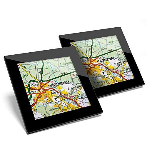 Juego de 2 posavasos de cristal de Haguenau Francia con mapa de viaje francés de la ciudad brillante de calidad para cualquier tipo de mesa #45275