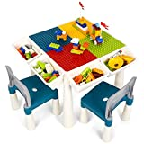 Kids 7-in-1 Multi Activity Table Set - amzdeal 138 Pieces Large Building Blocks Compatible Bricks Toy, Play Table Includes 2 Chairs and Building Block Table with Storage, for Learning Playing Eating