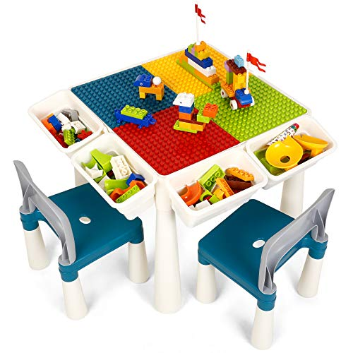Kids 7in1 Multi Activity Table Set  amzdeal 138 Pieces Large Building Blocks Compatible Bricks Toy Play Table Includes 2 Chairs and Building Block Table with Storage for Learning Playing Eating