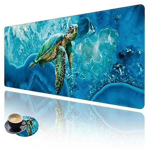 Extended Large Gaming Mouse Pad with Stitched Edges, XXL Mouse Pad Large (31.5x11.8 Inch) w/ Brilliant Design, Desk Mat Keyboard Pad with Anti Slip Base, Multifunctional Desk Pad - Turtle Underwater