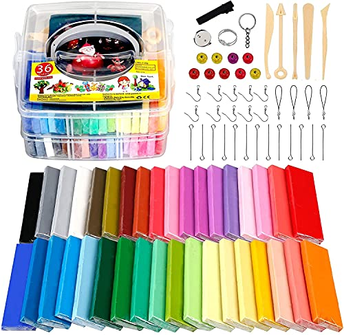 Polymer Clay Starter Set, 36 blocks (28g / block) Multicolor Modeling Clay Soft and Nontoxic Oven Bake Clay Kit with Tools and Storage Box, Best Gift for Kids. (Total 2.62 lbs)