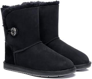 UGG Boots Women Australian Premium Twinface Sheepskin Short Mid Calf Bailey Button Boots Water Resistant Winter Shoe