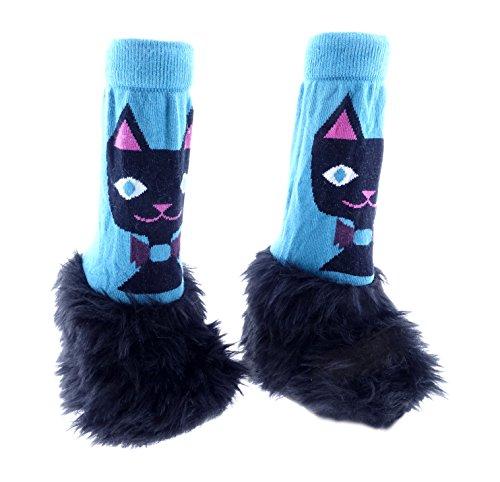 Imagen para mimitens Fuzzy Long Leg cálido invierno patucos (0–6meses, negro gato)