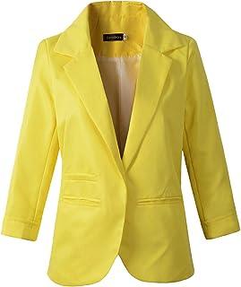Women`s 3/4 Sleeve Boyfriend Blazer Tailored Suit Coat Jacket