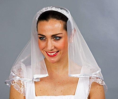 Unbekannt Braut Haarreif mit Schleier und Röschen Weiss Einheitsgröße